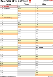 Vorlage 14: Kalender 2019 für die <span style=white-space:nowrap;>Schweiz als PDF-Datei, Hochformat, 4 Seiten, Quartal auf einer Seite