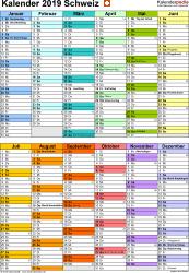 Vorlage 10: Kalender 2019 für die Schweiz  im PDF-Format, Hochformat, 1 Seite, in Farbe, nach Jahreshälften untergliedert