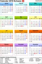 Vorlage 16: Kalender 2019 für die <span style=white-space:nowrap;>Schweiz als PDF-Datei, Hochformat, 1 Seite, Jahresübersicht, in Farbe