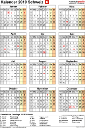 Vorlage 17: Kalender 2019 für die <span style=white-space:nowrap;>Schweiz als PDF-Datei, Hochformat, 1 Seite, Jahresübersicht