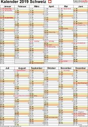 Vorlage 11: Kalender 2019 für die <span style=white-space:nowrap;>Schweiz als Microsoft Excel-Datei (.xlsx), Hochformat, 1 Seite, nach Jahreshälften untergliedert