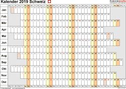 Vorlage 7: Kalender 2019 für die Schweiz  im Microsoft Excel-Format, Querformat, 1 Seite, Wochentage untereinander