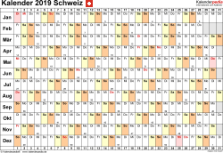 Vorlage 6: Kalender 2019 für die <span style=white-space:nowrap;>Schweiz als Microsoft Excel-Datei (.xlsx), Querformat, 1 Seite, Tage linear