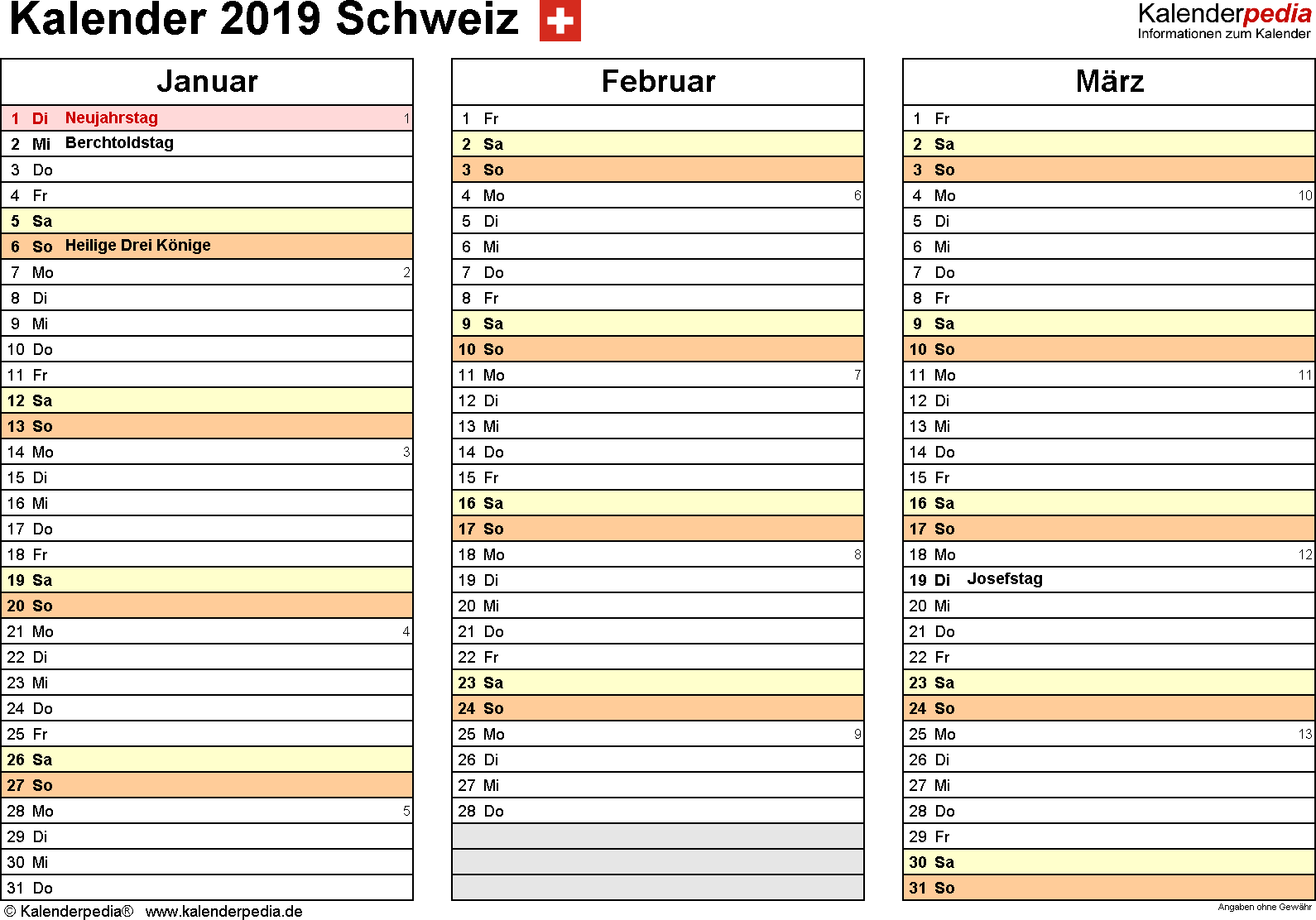 kalender 2019 schweiz in excel zum ausdrucken. Black Bedroom Furniture Sets. Home Design Ideas