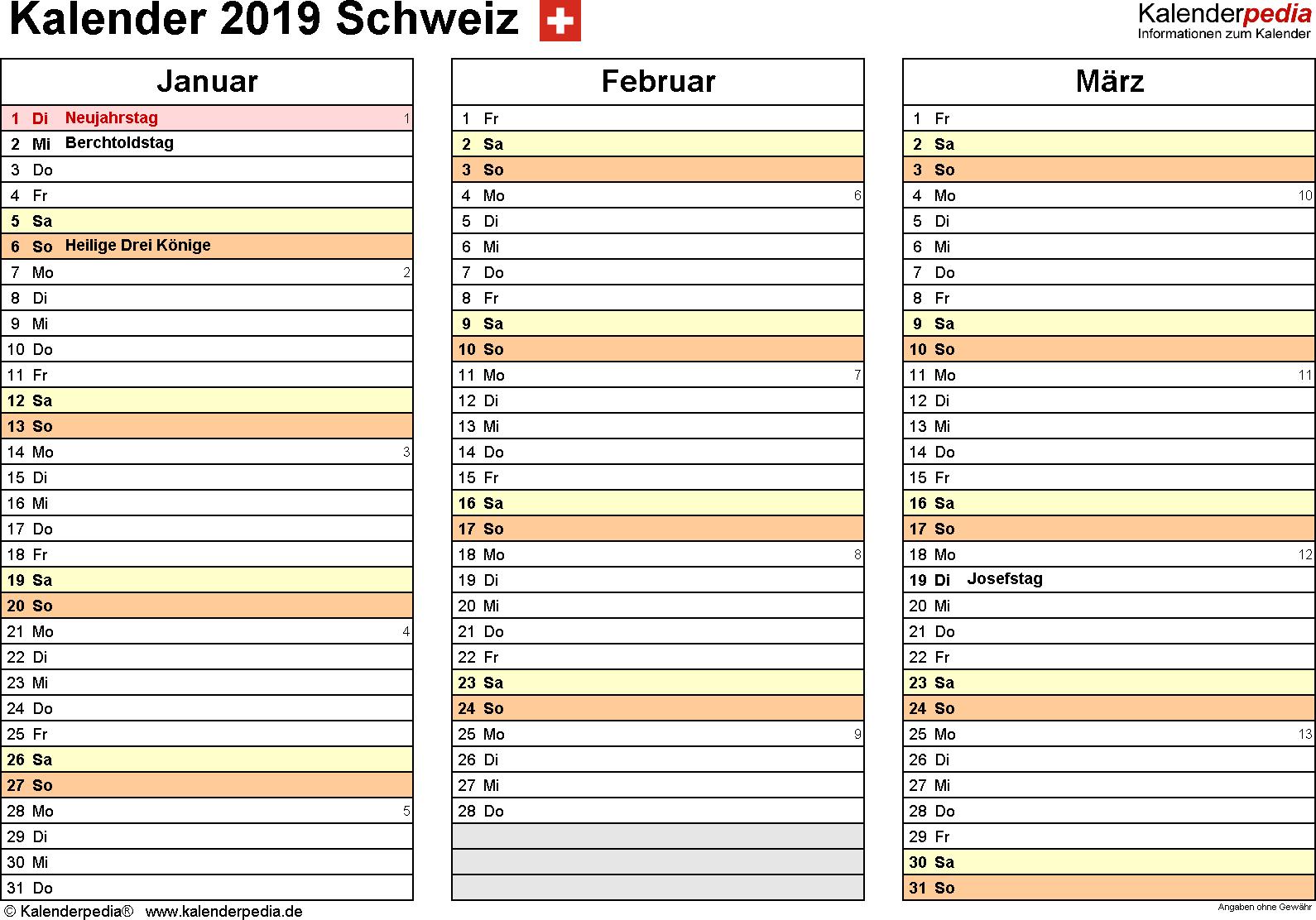 Vorlage 5: Kalender 2019 für die <span style=white-space:nowrap;>Schweiz als Microsoft Excel-Datei (.xlsx), Querformat, 4 Seiten, jedes Quartal auf einer Seite