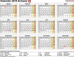 Vorlage 9: Kalender 2019 für die <span style=white-space:nowrap;>Schweiz als Microsoft Excel-Datei (.xlsx), Querformat, 1 Seite, Jahresübersicht