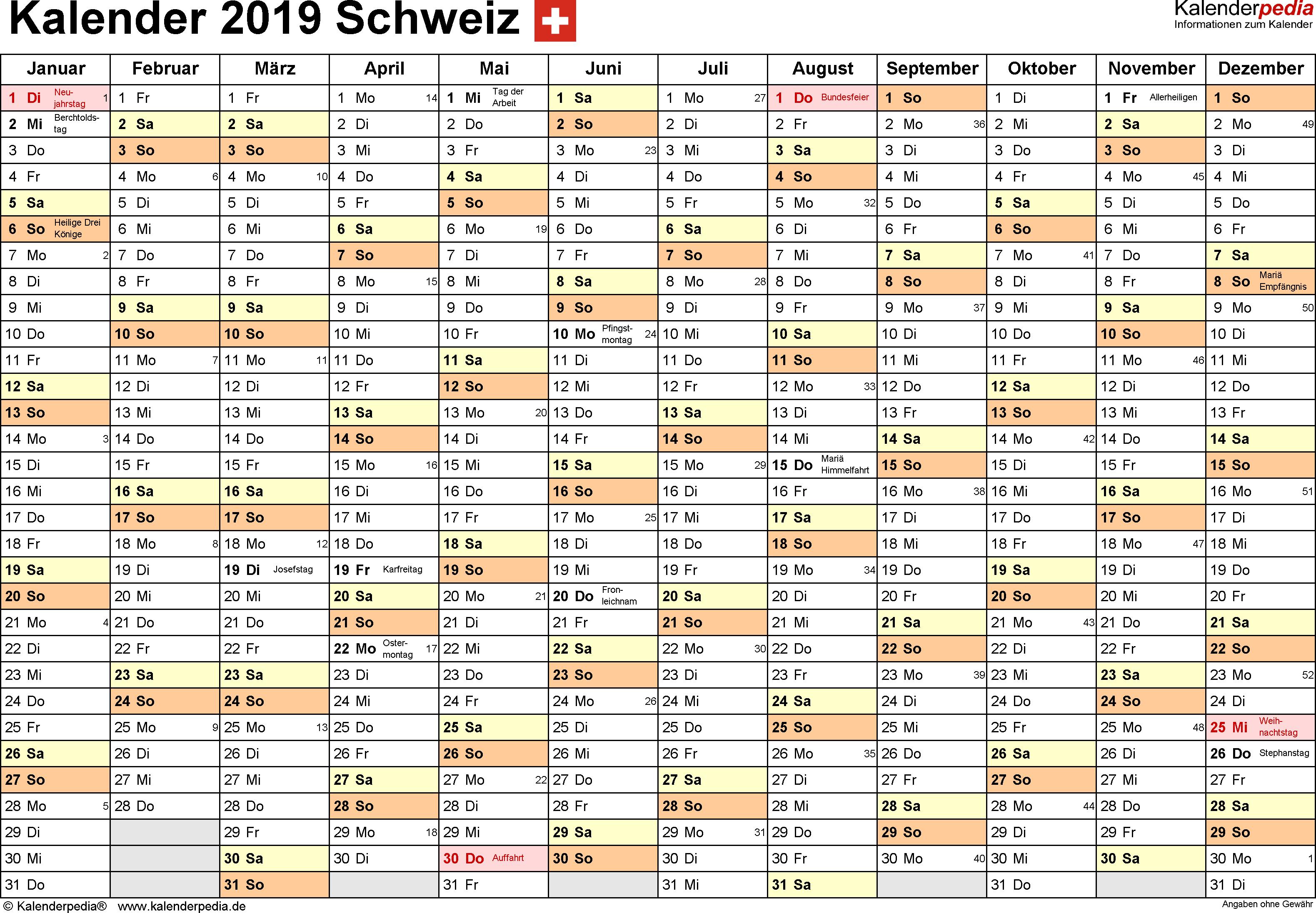 Vorlage 2: Kalender 2019 für die <span style=white-space:nowrap;>Schweiz als PDF-Datei, Querformat, 1 Seite, Monate nebeneinander