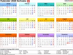 Vorlage 8: Kalender 2020 für die <span style=white-space:nowrap;>Schweiz als Microsoft Word-Datei (.docx), Querformat, 1 Seite, Jahresübersicht, in Farbe