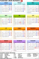 Vorlage 17: Kalender 2020 für die <span style=white-space:nowrap;>Schweiz als Microsoft Word-Datei (.docx), Hochformat, 1 Seite, Jahresübersicht, in Farbe