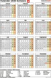 Vorlage 18: Kalender 2020 für die <span style=white-space:nowrap;>Schweiz als Microsoft Word-Datei (.docx), Hochformat, 1 Seite, Jahresübersicht