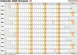 Vorlage 7: Kalender 2020 für die Schweiz  im PDF-Format, Querformat, 1 Seite, Wochentage untereinander