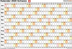 Vorlage 6: Kalender 2020 für die Schweiz  im PDF-Format, Querformat, 1 Seite, Tage linear