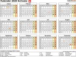 Vorlage 9: Kalender 2020 für die Schweiz  im PDF-Format, Querformat, 1 Seite