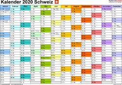 Vorlage 1: Kalender 2020 für die <span style=white-space:nowrap;>Schweiz als Microsoft Word-Datei (.docx), Querformat, 1 Seite, Monate nebeneinander, jeder Monate in anderer Farbe