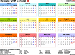 Vorlage 8: Kalender 2021 für die Schweiz  im PDF-Format, Querformat, 1 Seite, in Farbe