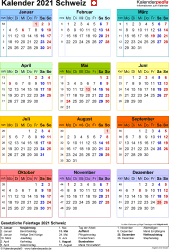 Vorlage 16: Kalender 2021 für die Schweiz  im PDF-Format, Jahresansicht, Hochformat, 1 Seite, in Farbe