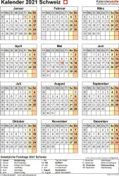 Vorlage 17: Kalender 2021 für die Schweiz  im Microsoft Word-Format, Hochformat, 1 Seite