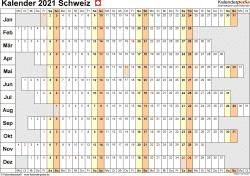 Vorlage 7: Kalender 2021 für die Schweiz  im Microsoft Excel-Format, Querformat, 1 Seite, Wochentage untereinander