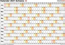 Vorlage 6: Kalender 2021 für die Schweiz  im PDF-Format, Querformat, 1 Seite, Tage linear