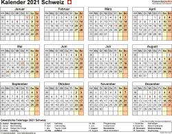 Vorlage 9: Kalender 2021 für die Schweiz  im Microsoft Word-Format, Querformat, 1 Seite