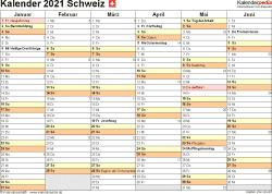 Vorlage 3: Kalender 2021 für die Schweiz  im Microsoft Word-Format, Querformat, 2 Seiten, 1. Halbjahr (Kalender Januar bis Juni 2021) & 2. Halbjahr (Kalender Juli bis Dezember 2021) auf einen Blick