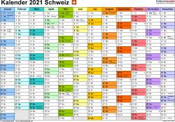 Vorlage 1: Kalender 2021 für die Schweiz  im PDF-Format, Querformat, 1 Seite, Monate nebeneinander, jeder Monate in anderer Farbe