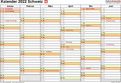 Vorlage 3: Kalender 2022 für die Schweiz  im Microsoft Excel-Format, Querformat, 2 Seiten, 1. Halbjahr (Kalender Januar bis Juni 2022) & 2. Halbjahr (Kalender Juli bis Dezember 2022) auf einen Blick
