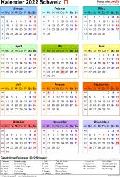 Vorlage 16: Kalender 2022 für die Schweiz  im Microsoft Word-Format, Jahresansicht, Hochformat, 1 Seite, in Farbe