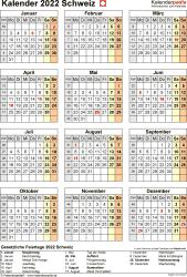 Vorlage 17: Kalender 2022 für die Schweiz  im Microsoft Word-Format, Hochformat, 1 Seite