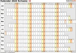 Vorlage 7: Kalender 2022 für die Schweiz  im Microsoft Excel-Format, Querformat, 1 Seite, Wochentage untereinander