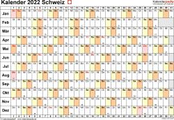 Vorlage 6: Kalender 2022 für die Schweiz  im Microsoft Word-Format, Querformat, 1 Seite, Tage linear