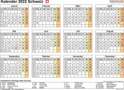Vorlage 9: Kalender 2022 für die Schweiz  im Microsoft Word-Format, Querformat, 1 Seite