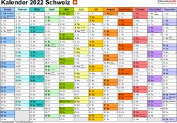 Vorlage 1: Kalender 2022 für die Schweiz  im Microsoft Word-Format, Querformat, 1 Seite, Monate nebeneinander, jeder Monate in anderer Farbe