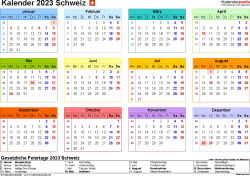 Vorlage 8: Kalender 2023 für die Schweiz  im Microsoft Word-Format, Querformat, 1 Seite, in Farbe