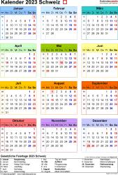 Vorlage 17: Kalender 2023 für die Schweiz  im Microsoft Word-Format, Jahresansicht, Hochformat, 1 Seite, in Farbe