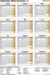 Vorlage 18: Kalender 2023 für die Schweiz  im PDF-Format, Hochformat, 1 Seite