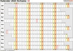 Vorlage 7: Kalender 2023 für die Schweiz  im PDF-Format, Querformat, 1 Seite, Wochentage untereinander