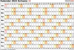 Vorlage 6: Kalender 2023 für die Schweiz  im PDF-Format, Querformat, 1 Seite, Tage linear