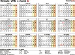 Vorlage 9: Kalender 2023 für die Schweiz  im Microsoft Word-Format, Querformat, 1 Seite