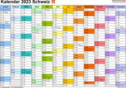 Vorlage 1: Kalender 2023 für die Schweiz  im Microsoft Word-Format, Querformat, 1 Seite, Monate nebeneinander, jeder Monate in anderer Farbe