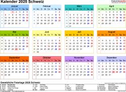 Vorlage 8: Kalender 2025 für die <span style=white-space:nowrap;>Schweiz als PDF-Datei, Querformat, 1 Seite, Jahresübersicht, in Farbe