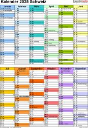 Vorlage 10: Kalender 2025 für die <span style=white-space:nowrap;>Schweiz als PDF-Datei, Hochformat, 1 Seite, in Farbe, nach Jahreshälften untergliedert