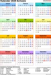 Vorlage 17: Kalender 2025 für die <span style=white-space:nowrap;>Schweiz als PDF-Datei, Hochformat, 1 Seite, Jahresübersicht, in Farbe
