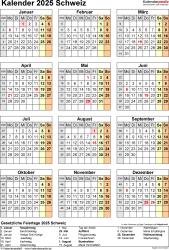 Vorlage 18: Kalender 2025 für die <span style=white-space:nowrap;>Schweiz als PDF-Datei, Hochformat, 1 Seite, Jahresübersicht