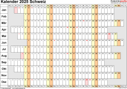 Vorlage 7: Kalender 2025 für die <span style=white-space:nowrap;>Schweiz als PDF-Datei, Querformat, 1 Seite, Wochentage untereinander