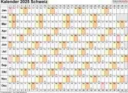 Vorlage 6: Kalender 2025 für die <span style=white-space:nowrap;>Schweiz als PDF-Datei, Querformat, 1 Seite, Tage linear