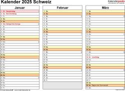 Vorlage 5: Kalender 2025 für die <span style=white-space:nowrap;>Schweiz als PDF-Datei, Querformat, 4 Seiten, jedes Quartal auf einer Seite
