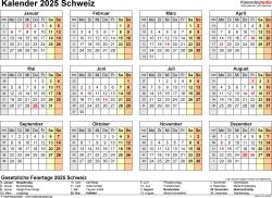 Vorlage 9: Kalender 2025 für die <span style=white-space:nowrap;>Schweiz als PDF-Datei, Querformat, 1 Seite, Jahresübersicht