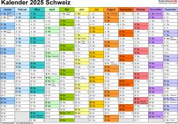 Vorlage 1: Kalender 2025 für die <span style=white-space:nowrap;>Schweiz als PDF-Datei, Querformat, 1 Seite, Monate nebeneinander, jeder Monate in anderer Farbe