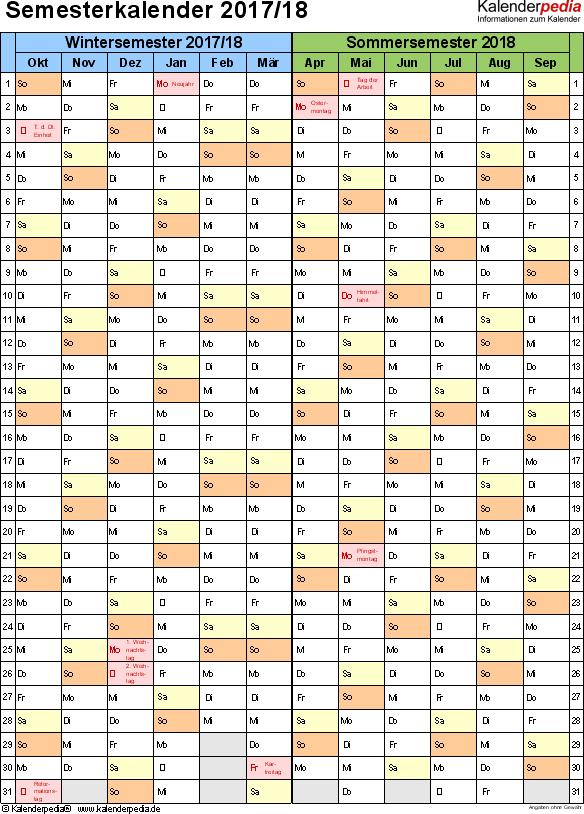 Vorlage 5: Semesterkalender 2017/2018 im Hochformat, 1 Seite